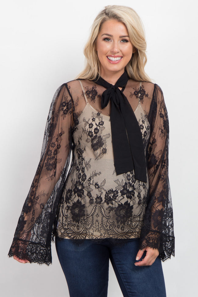 Black Sheer Lace Scalloped Trim Maternity Top