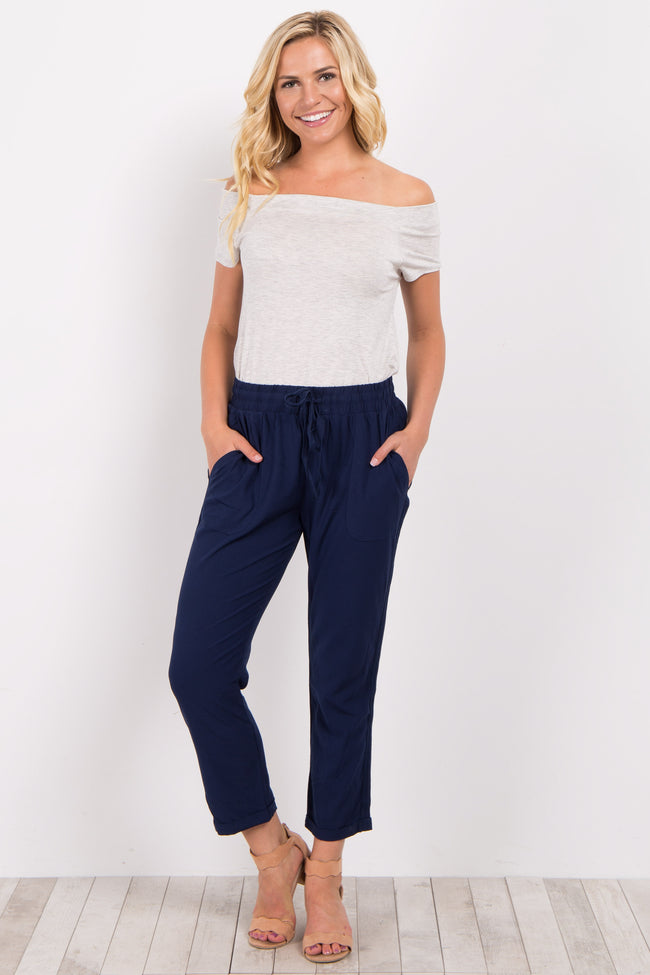 Navy Blue Drawstring Maternity Trousers