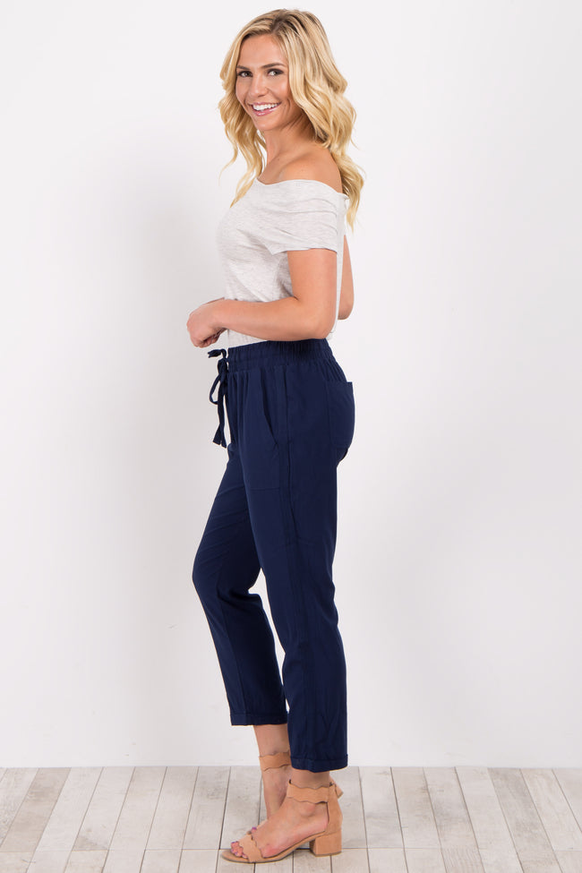 Navy Blue Drawstring Trousers