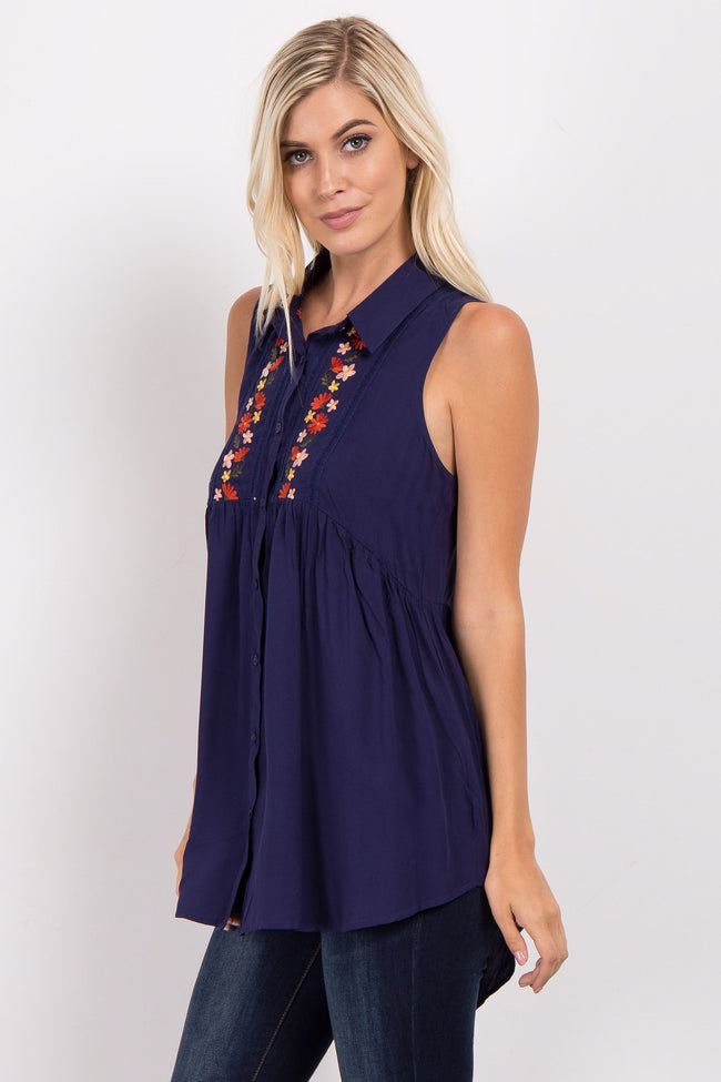 Navy Blue Embroidered Collared Top