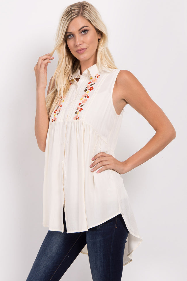 Cream Embroidered Collared Top