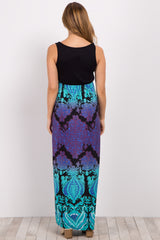 Mint Green Printed Bottom Maternity Maxi Dress