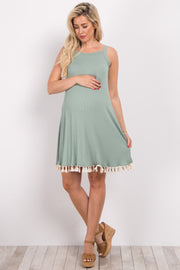 Olive Cutout Back Tassel Trim Maternity Dress