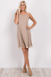 Taupe Cutout Back Tassel Trim Dress