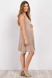 Taupe Cutout Back Tassel Trim Maternity Dress