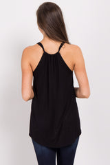 Black Cinched Racerback Tank Top