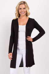 Black Solid Long Cardigan