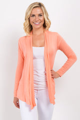 Orange Long Sleeve Maternity Cardigan