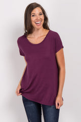 Purple Basic Short Sleeve Top