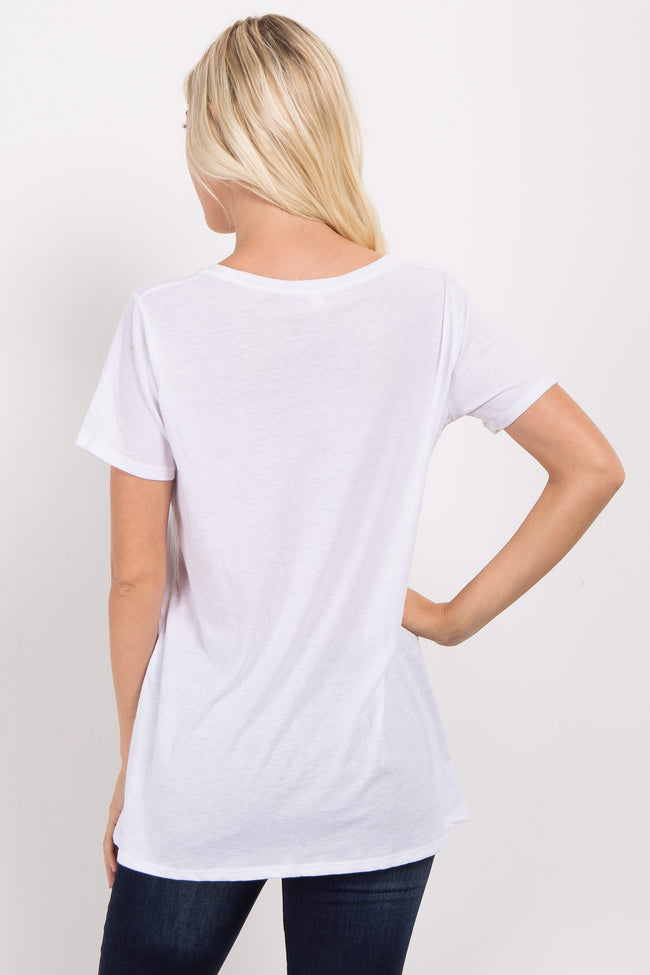 White Solid Short Sleeve Top