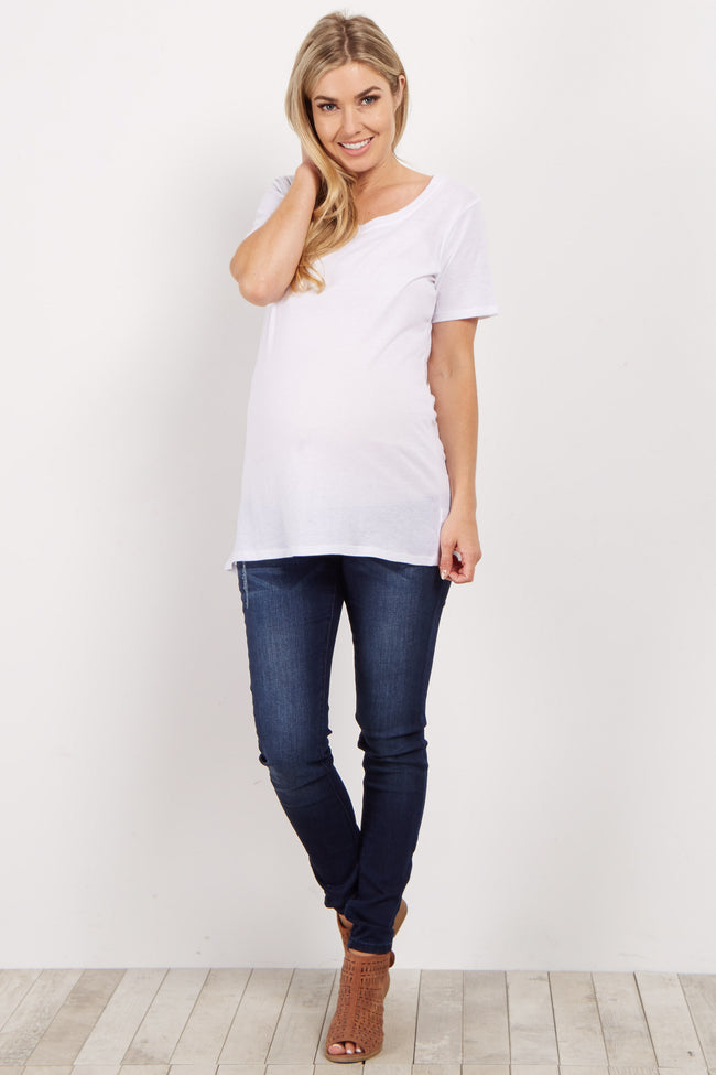White Solid Short Sleeve Maternity Top