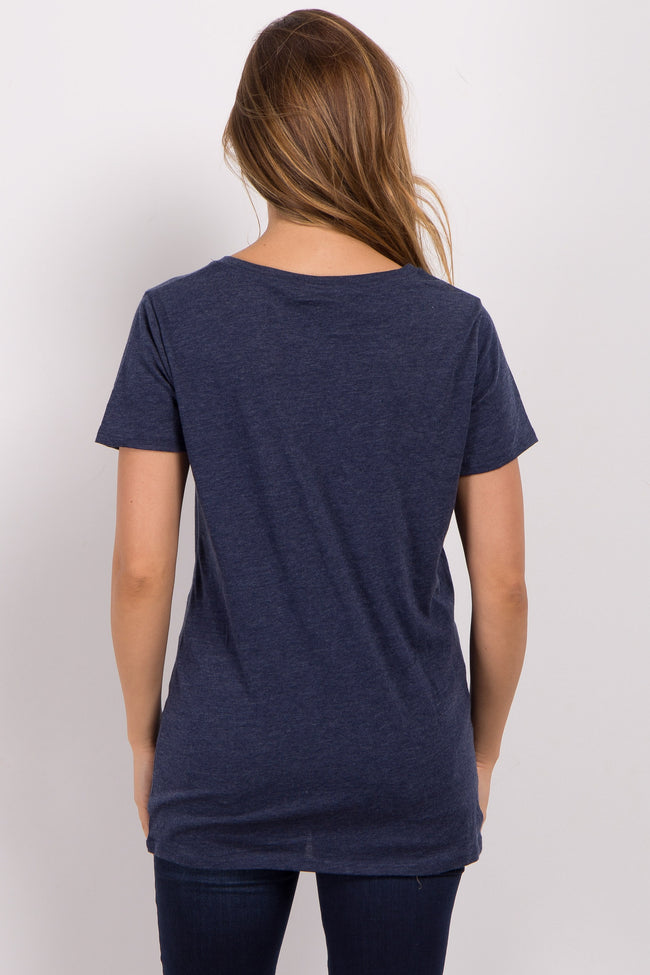 Navy Blue Solid Short Sleeve Maternity Top