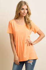 Neon Orange Short Sleeve Maternity Top