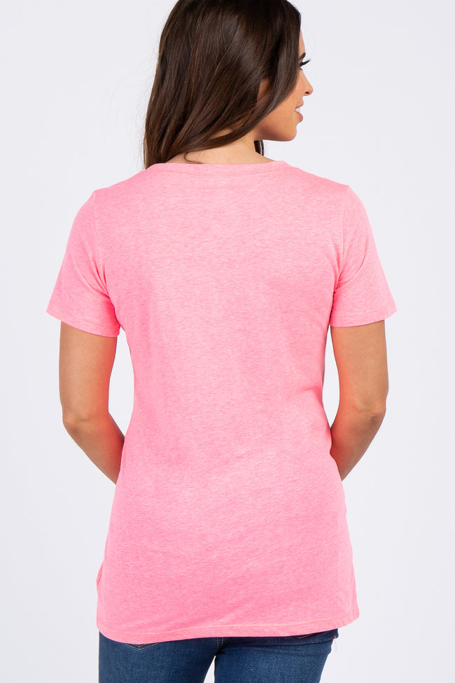 Neon Pink Solid Short Sleeve Maternity Top