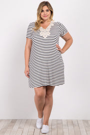 Black Striped Crochet Neckline Plus Maternity Dress