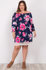 Navy Blue Floral Off Shoulder Plus Maternity Dress