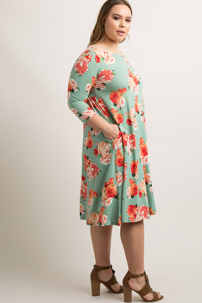 Mint Green Floral Plus Long Sleeve Dress