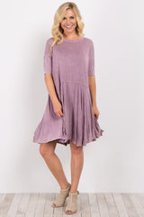 Lavender Faded Solid Short Sleeve Dress