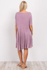 Lavender Faded Solid Short Sleeve Maternity Dress
