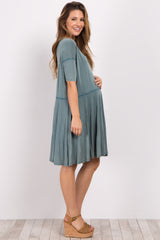 Sage Faded Solid Short Sleeve Maternity Dress