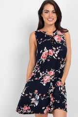 Navy Blue Floral Lace-Up Sleeveless Dress
