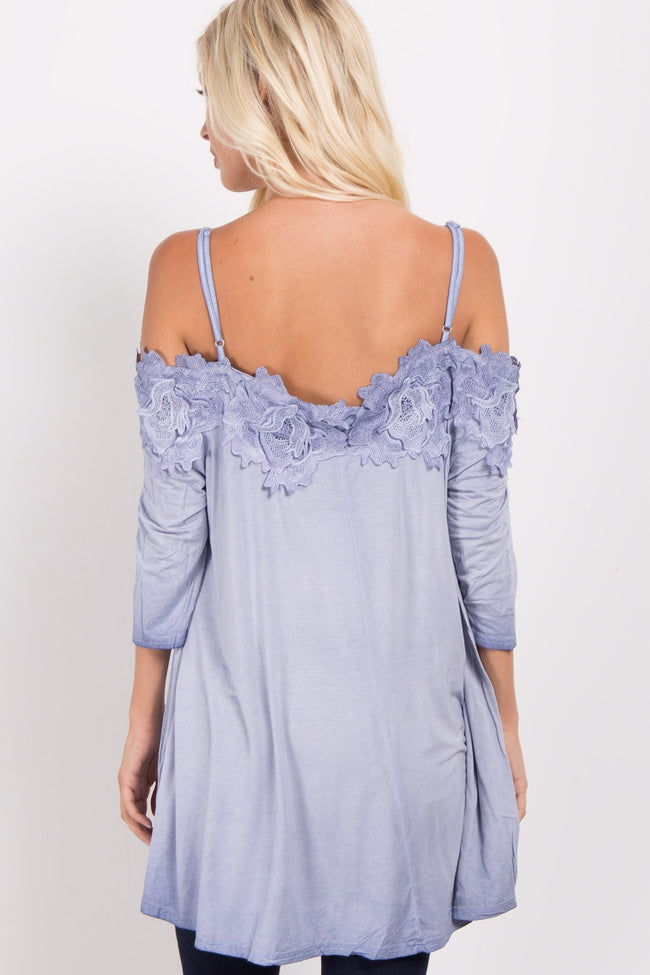 Blue Floral Crochet Cold Shoulder Top