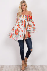 White Floral Pleated Off Shoulder Top