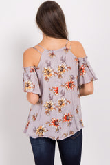 Lavender Floral Cold Shoulder Top