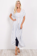 Light Blue Striped Hi-Low Long Kimono