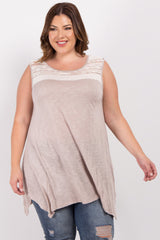 Taupe White Lace Accent Plus Maternity Top