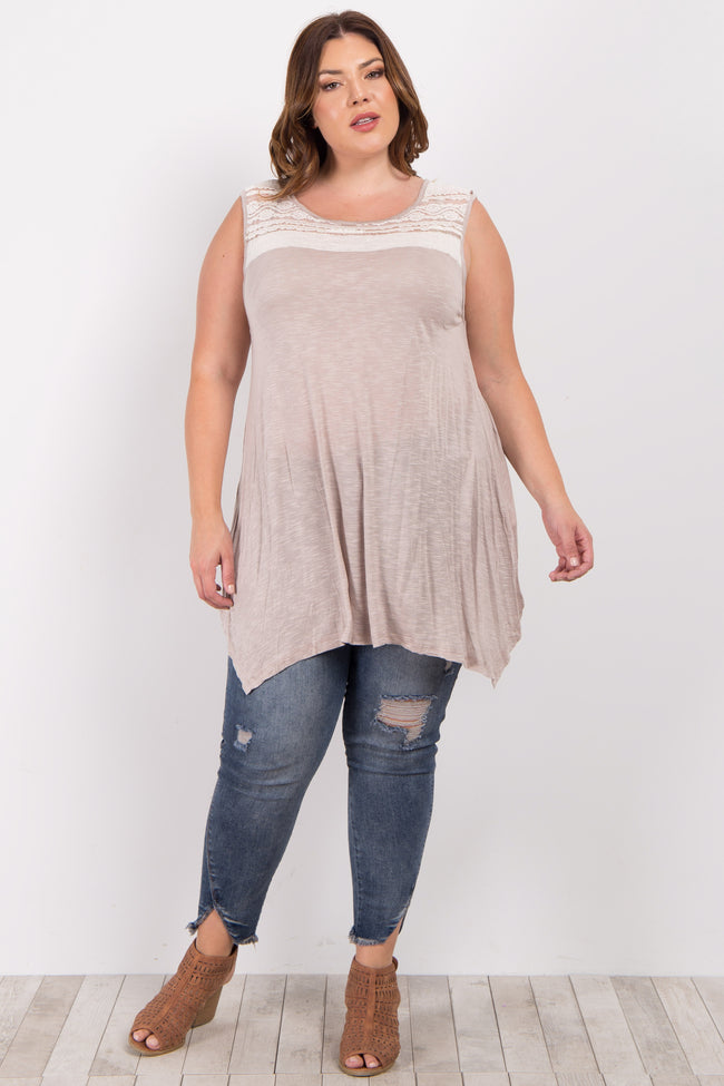 Taupe White Lace Accent Plus Top