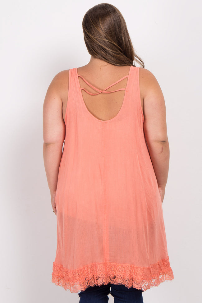 Peach Lace Accent Asymmetrical Plus Maternity Top