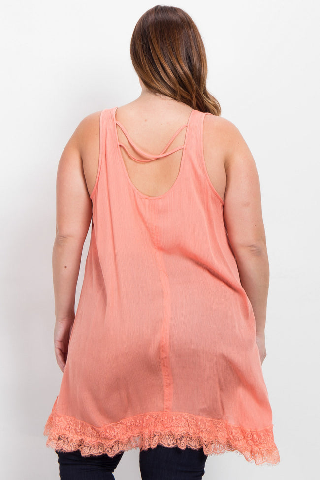 Peach Lace Accent Asymmetrical Plus Top