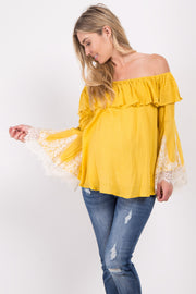 Yellow Off Shoulder Lace Sleeve Maternity Top