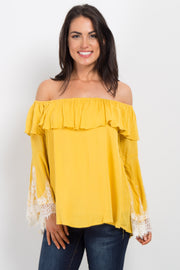 Yellow Off Shoulder Lace Sleeve Top