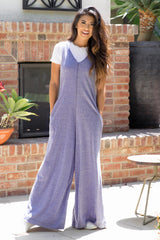 Blue Sleeveless Wide Leg Jumpsuit