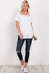 White Crescent Cutout Top