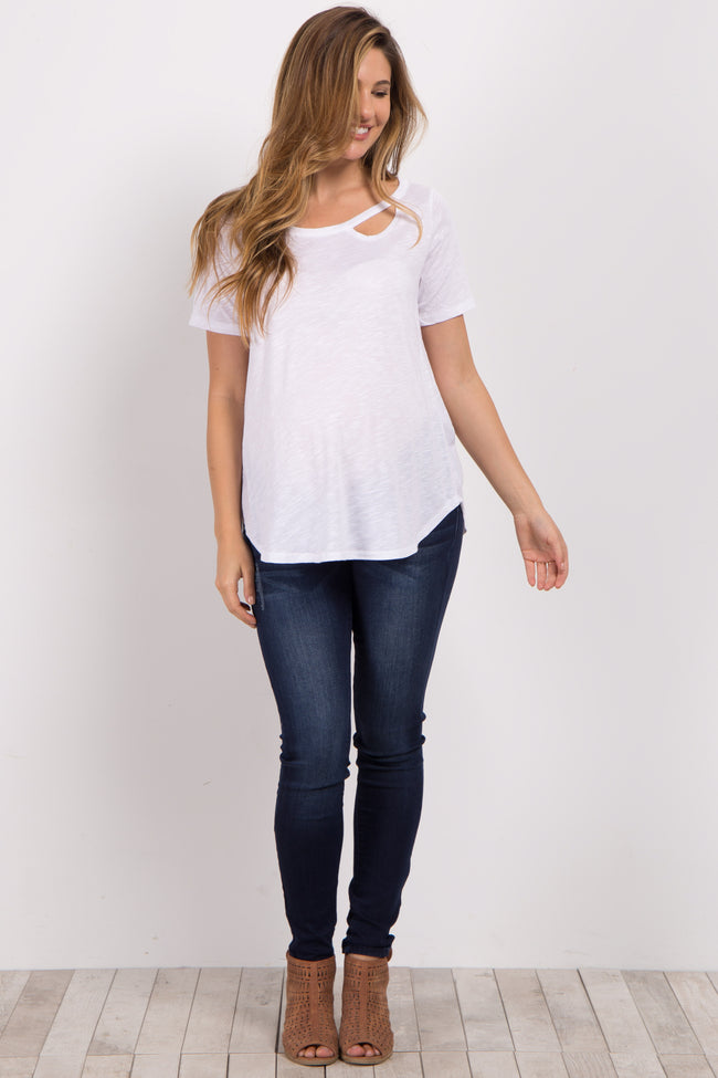 White Crescent Cutout Maternity Top