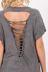 Charcoal Grey Faded Raw Cutout Back Top