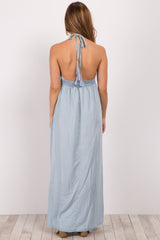 Light Blue Denim Halter Neck Maternity Maxi Dress
