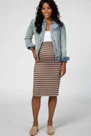 Taupe Striped Fitted Maternity Pencil Skirt