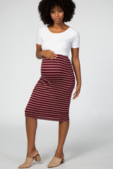 Burgundy Striped Fitted Maternity Pencil Skirt