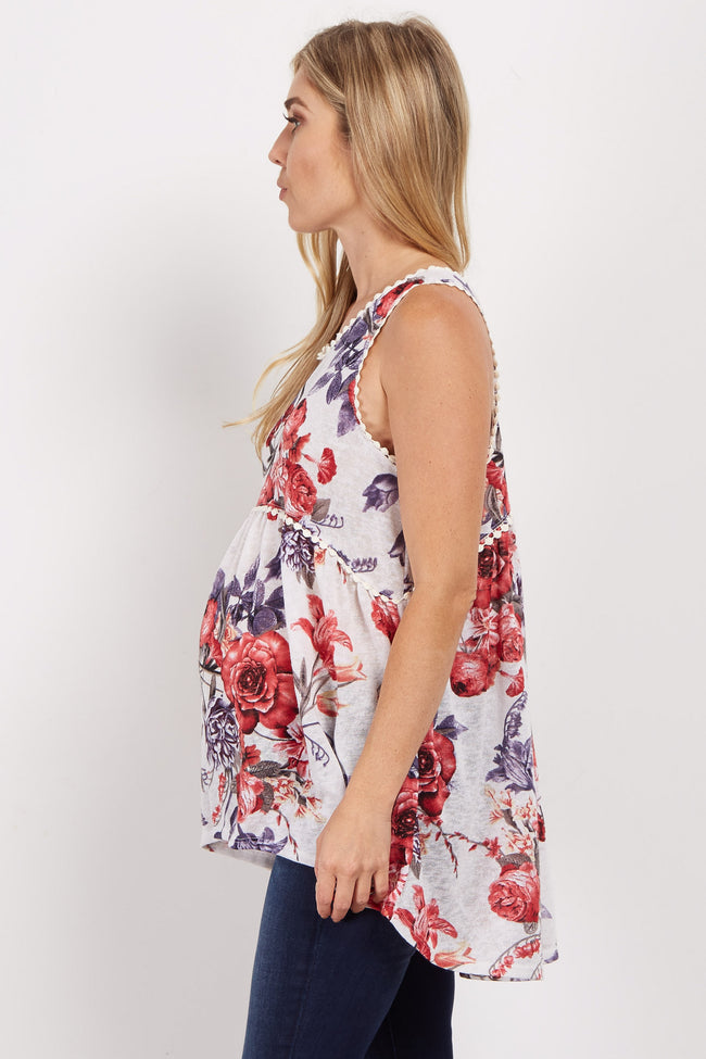Ivory Floral Print Crochet Trim Maternity Top