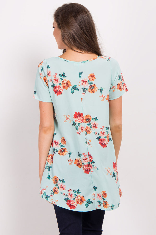 Mint Green Floral Cutout Front Top
