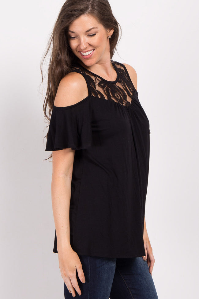 Black Lace Accent Cold Shoulder Top