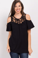 Black Lace Accent Cold Shoulder Maternity Top
