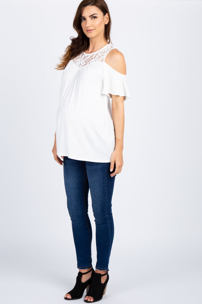Ivory Lace Accent Cold Shoulder Maternity Top