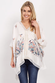 Ivory Feather Print Crochet Maternity Poncho Top