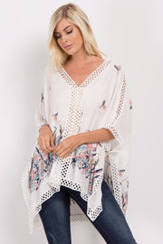 Ivory Feather Print Crochet Poncho Top