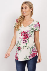 Ivory Floral Print V Neck Maternity Top